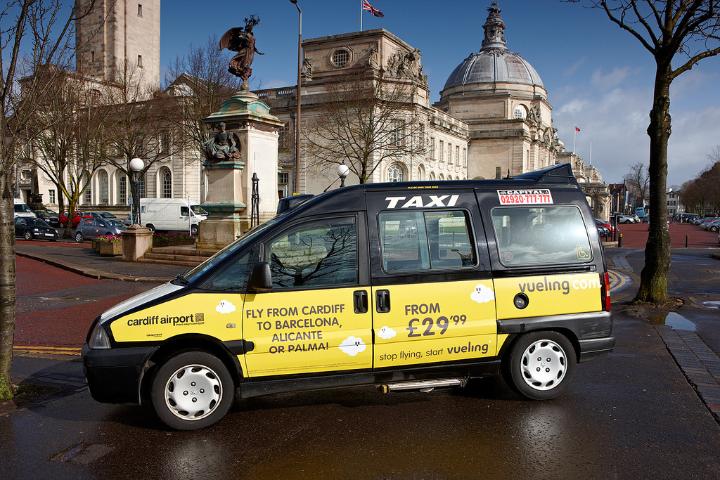 2012 Ubiquitous taxi advertising campaign for Vueling - stop flying, start Vueling