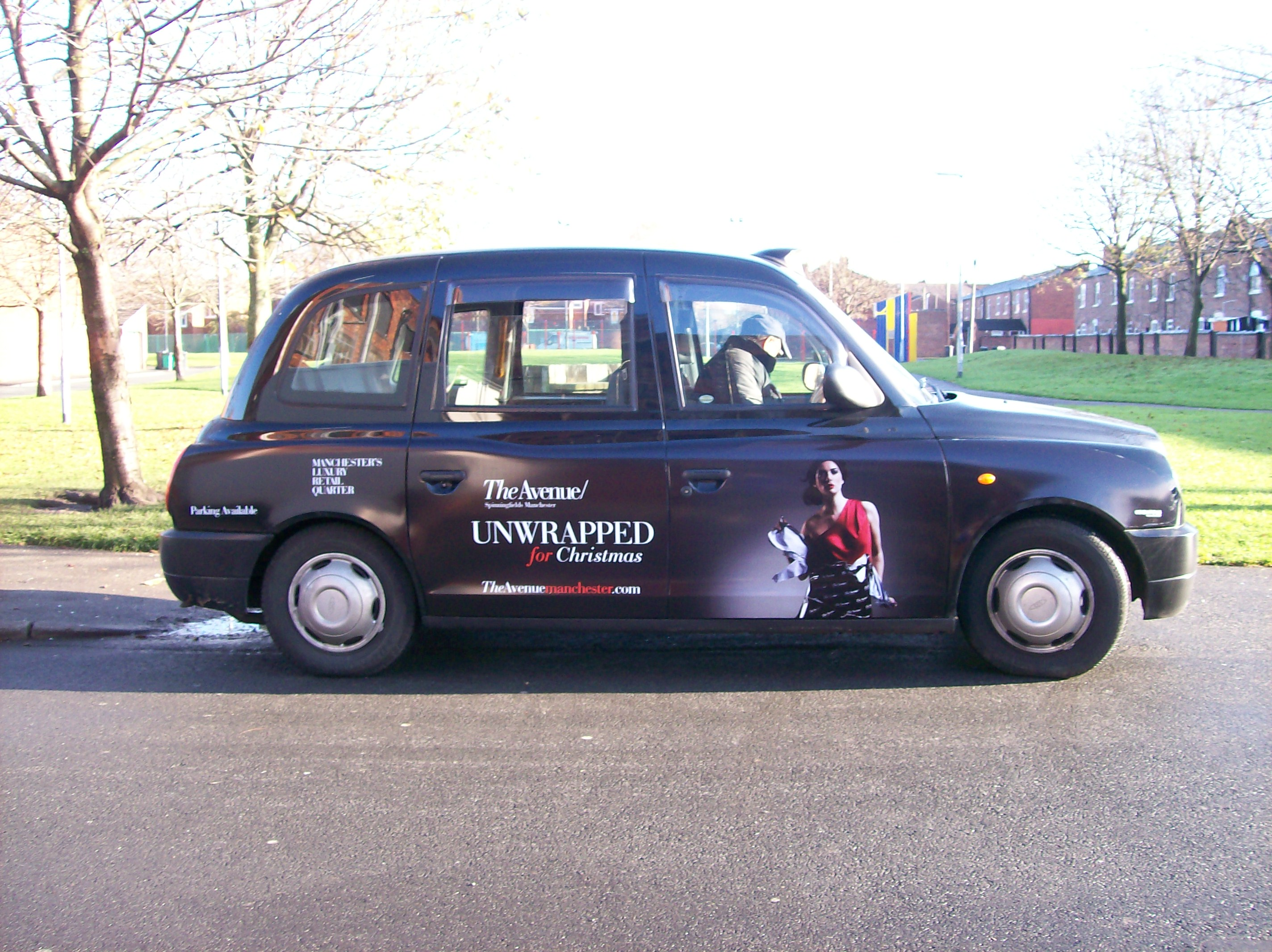 2010 Ubiquitous taxi advertising campaign for Spinningfields - The Avenue-Unwrapped For Christmas