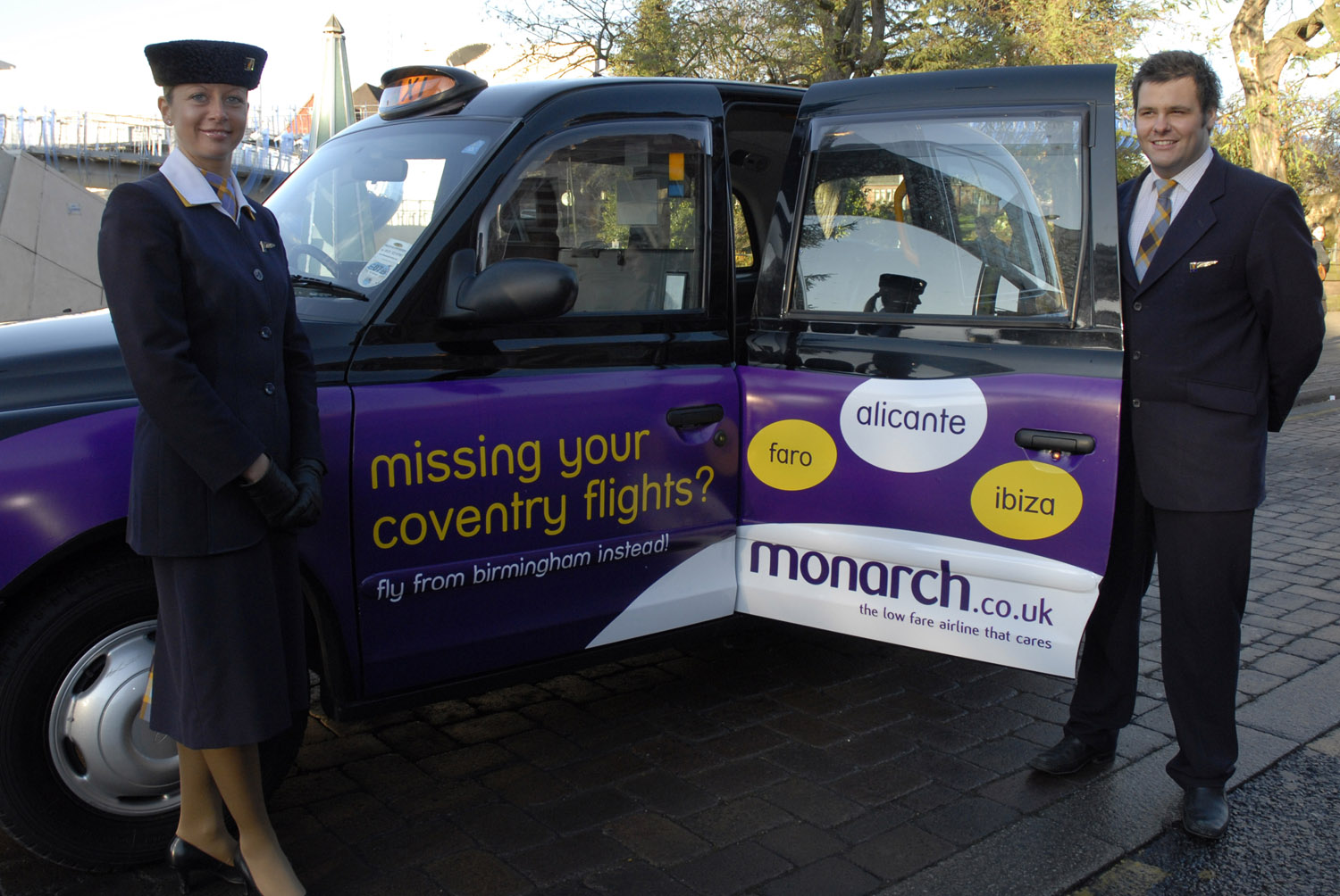 2008 Ubiquitous taxi advertising campaign for Monarch - The low fare airline that cares