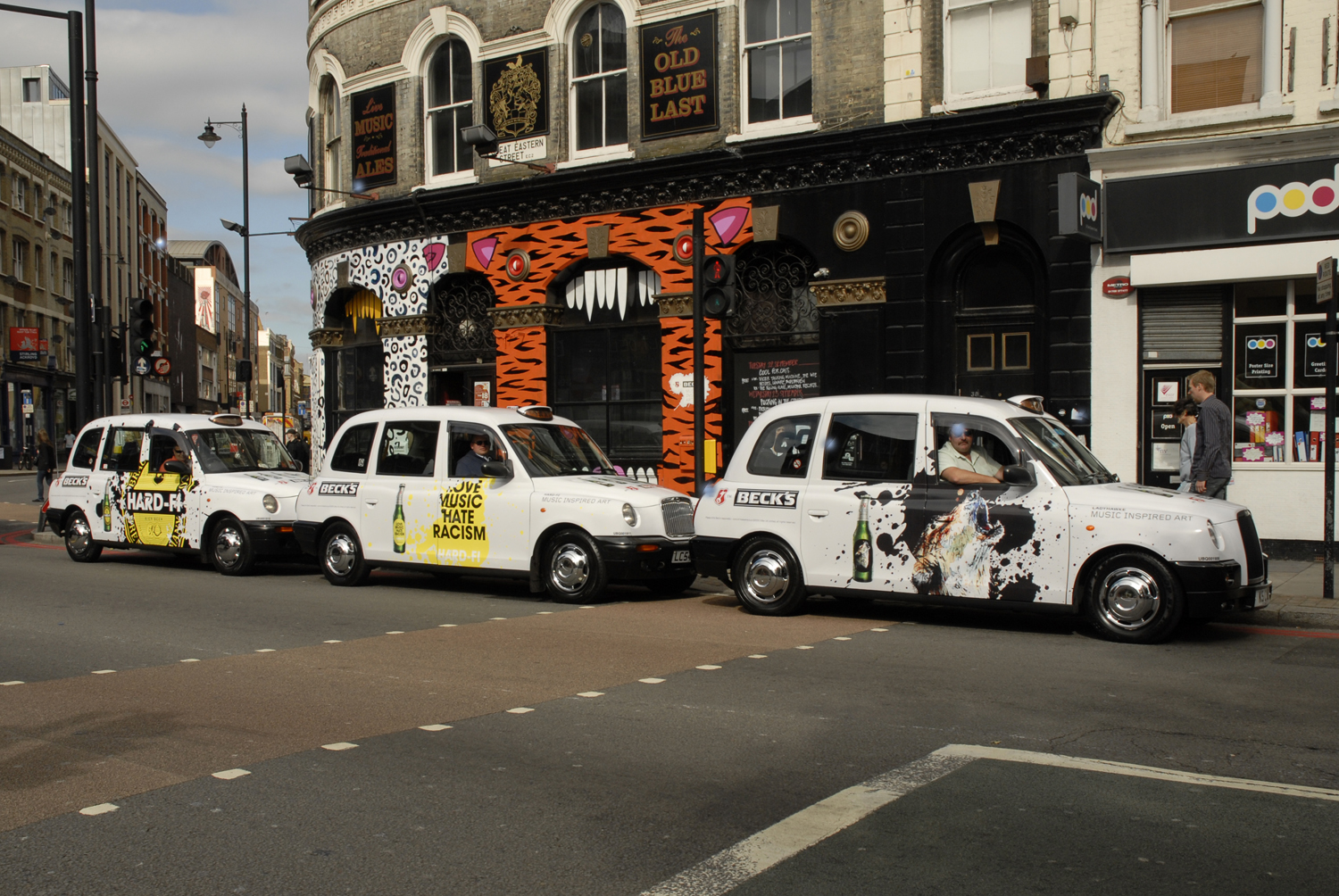 2009 Ubiquitous taxi advertising campaign for Becks - Music inspired art