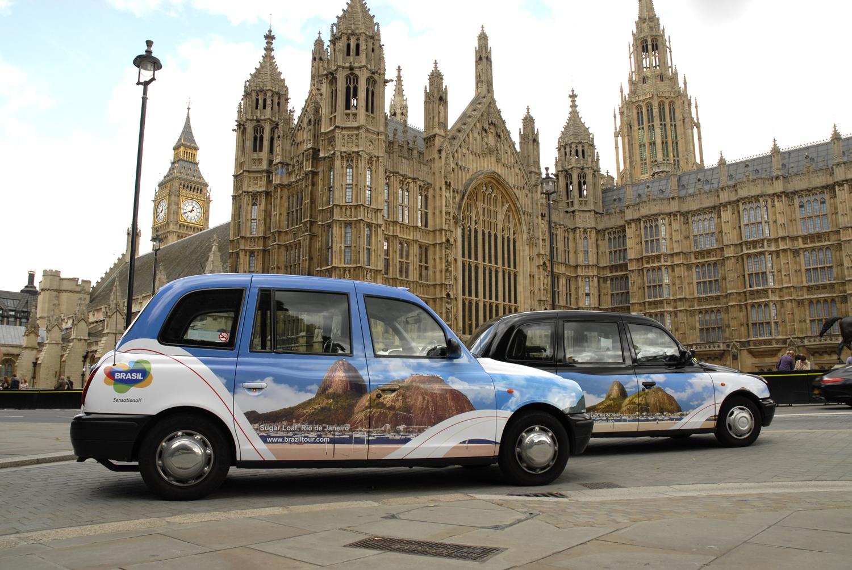 2010 Ubiquitous taxi advertising campaign for Brazil Tourist Board - Sugar Loaf. Rio de Janiero