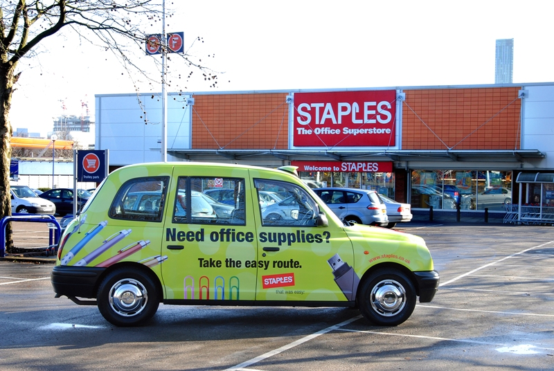 2007 Ubiquitous taxi advertising campaign for Staples - Take the Easy Route