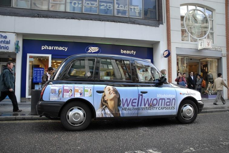 2009 Ubiquitous taxi advertising campaign for Vitabiotics - Health & Vitality capsules