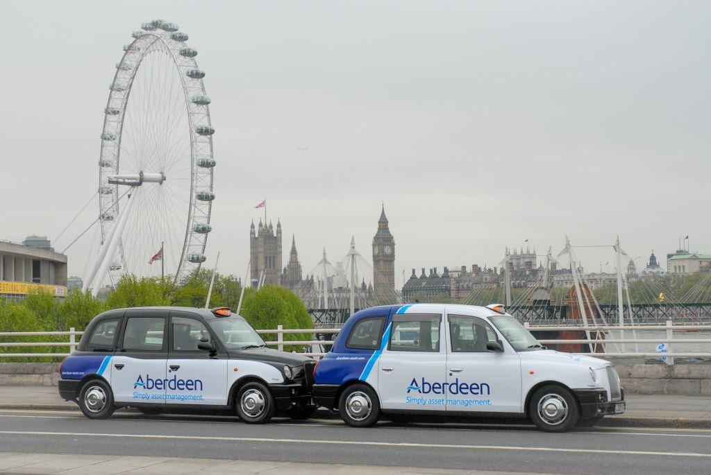 2013 Ubiquitous taxi advertising campaign for Aberdeen Asset Management  - Simply Asset Management
