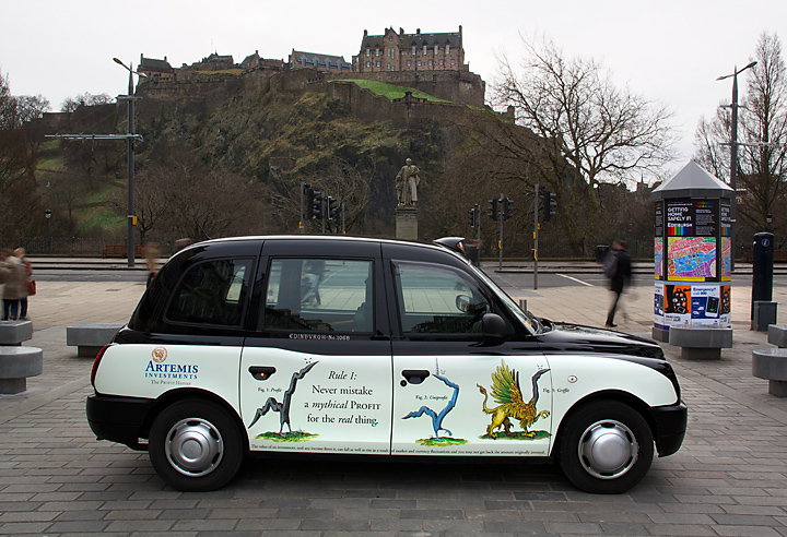 2013 Ubiquitous taxi advertising campaign for Artemis - Rule 1: Never mistake a mythical profit for the real thing