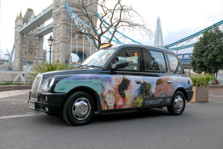 2014 Ubiquitous taxi advertising campaign for Atout France Corsica - Rendez Vous In Terra Nostra