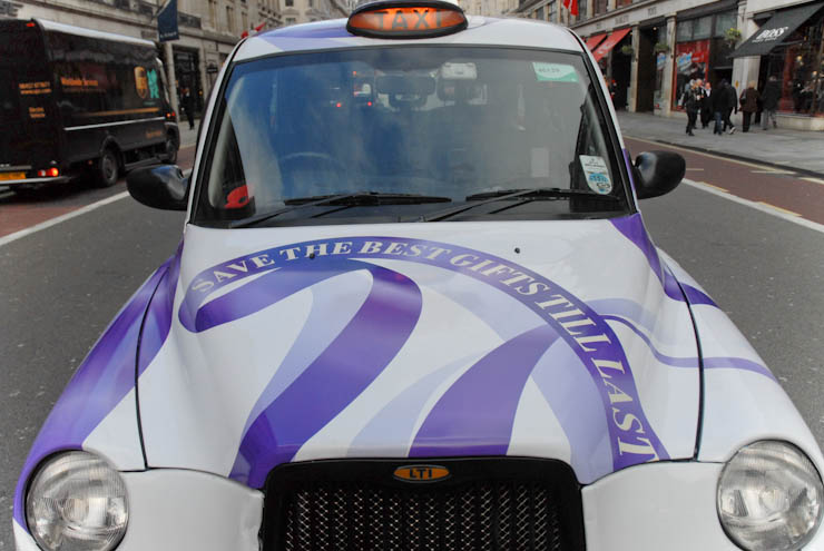 2012 Ubiquitous taxi advertising campaign for BAA - Heathrow Shopping.  Save the best gifts till last