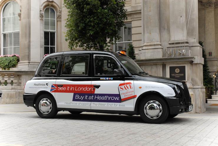 2011 Ubiquitous taxi advertising campaign for BAA - See It In London, Buy It At Heathrow