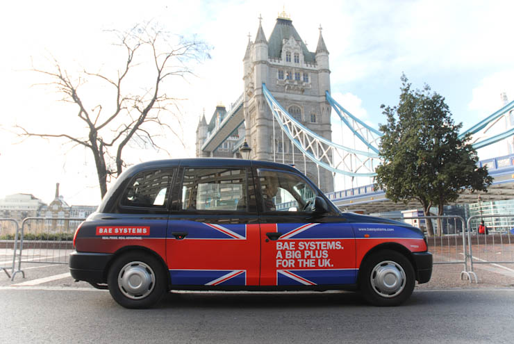 2012 Ubiquitous taxi advertising campaign for BAE - A Big Plus for the UK