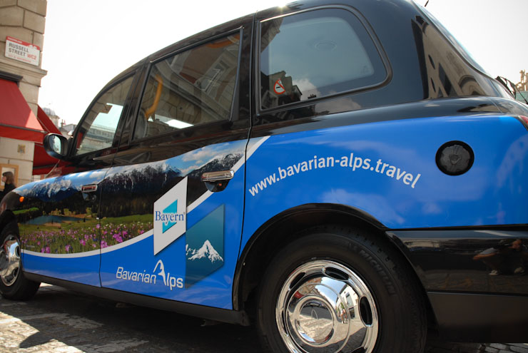 2010 Ubiquitous taxi advertising campaign for Bavaria Tourism - Land of Scenic Beauty