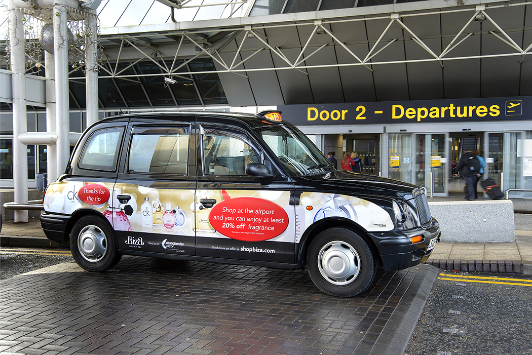2012 Ubiquitous taxi advertising campaign for Manchester Airport - Find more on offer at shopbiza.com