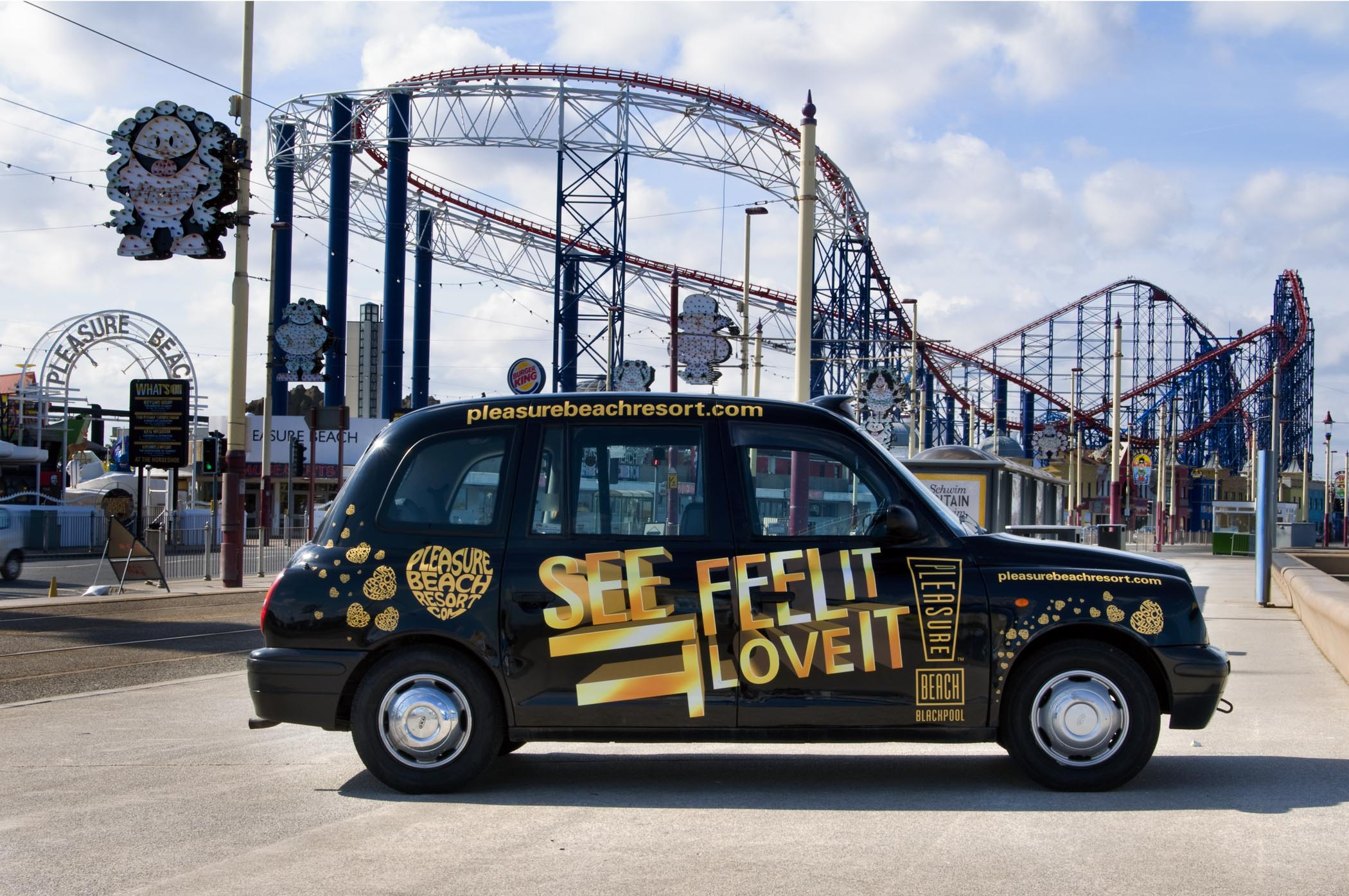 2009 Ubiquitous taxi advertising campaign for Blackpool Pleasure Beach - See It Feel It Love It