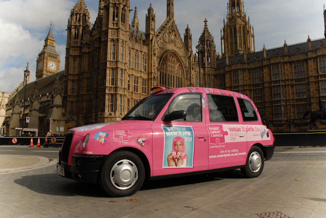 2010 Ubiquitous taxi advertising campaign for Breast Cancer Campaign  - Wear It Pink Day 29th October 2010
