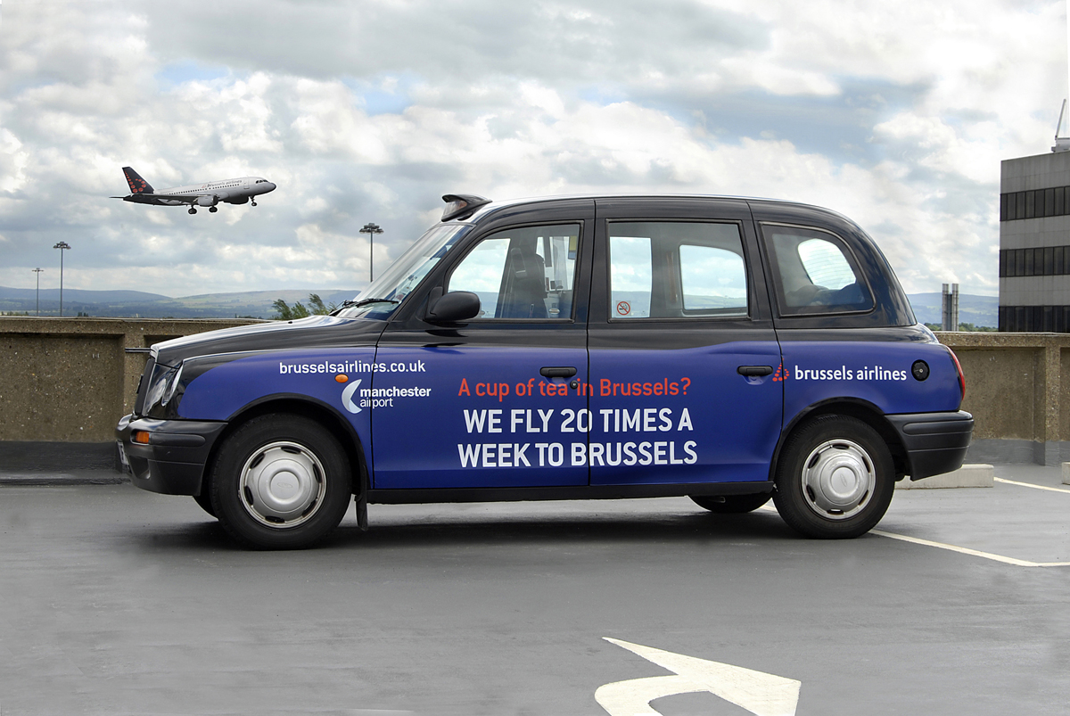 2008 Ubiquitous taxi advertising campaign for Manchester Airport - Brussels Airlines - A cup of tea in Brussels?