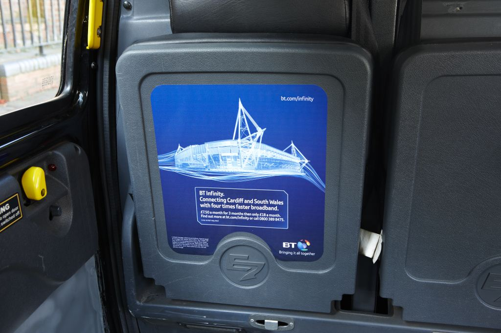 2011 Ubiquitous taxi advertising campaign for BT - Connecting Cardiff and South Wales