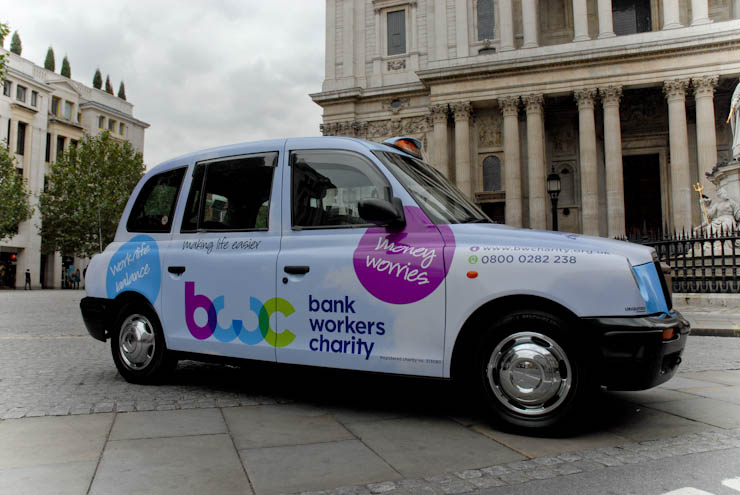 2012 Ubiquitous taxi advertising campaign for Bank Workers Charity  - making Life Easier
