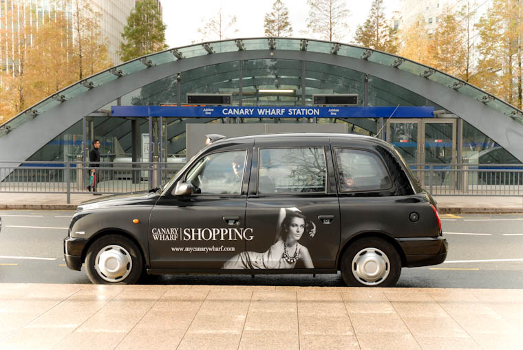 2010 Ubiquitous taxi advertising campaign for Canary Wharf - Canary Wharf Shopping
