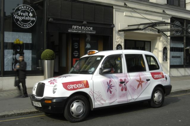 2005 Ubiquitous taxi advertising campaign for Canderel - Designed by Elsbeth Gibson (For Pink Ribbon Foundation)