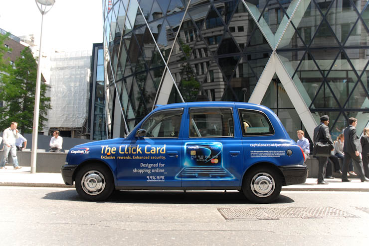 2011 Ubiquitous taxi advertising campaign for Capital One Bank - The Click Card
