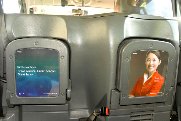 2011 Ubiquitous taxi advertising campaign for Cathay Pacific - Four Times Daily to Hong Kong