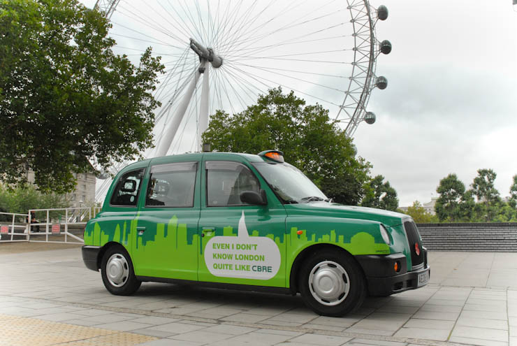 2011 Ubiquitous taxi advertising campaign for CBRE - Even I don't know London Quite like CBRE