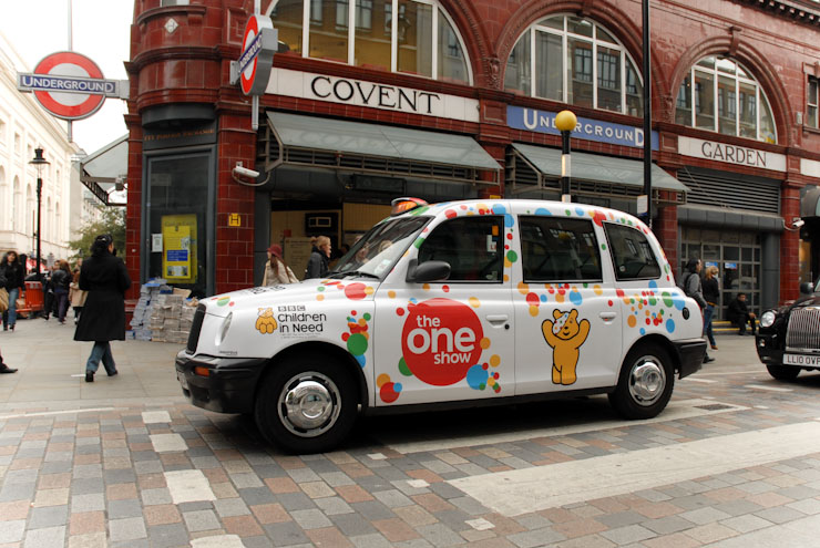 2010 Ubiquitous taxi advertising campaign for Children In Need - The One Show
