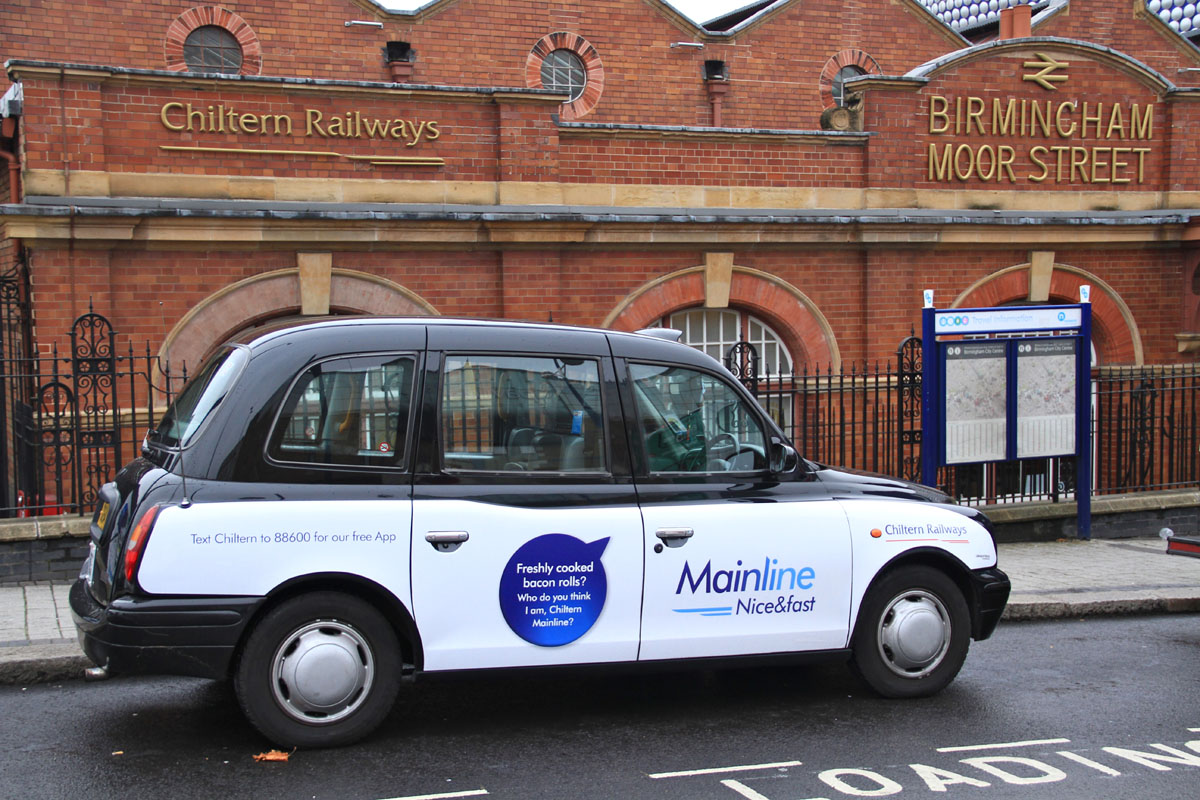 2012 Ubiquitous taxi advertising campaign for Chiltern Railways - Mainline. Nice & Fast