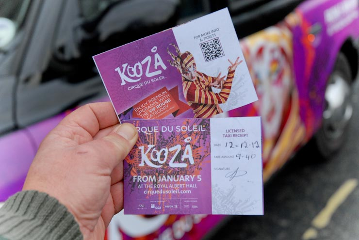 2012 Ubiquitous taxi advertising campaign for Cirque Du Soleil - Kooza
