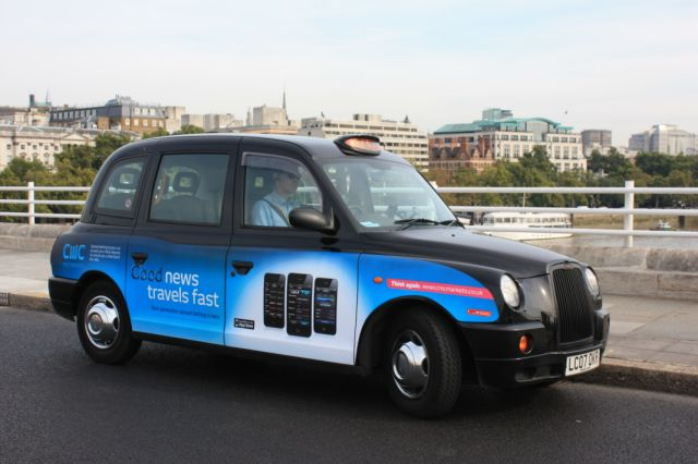 2010 Ubiquitous taxi advertising campaign for CMC Markets - Good News Travels Fast