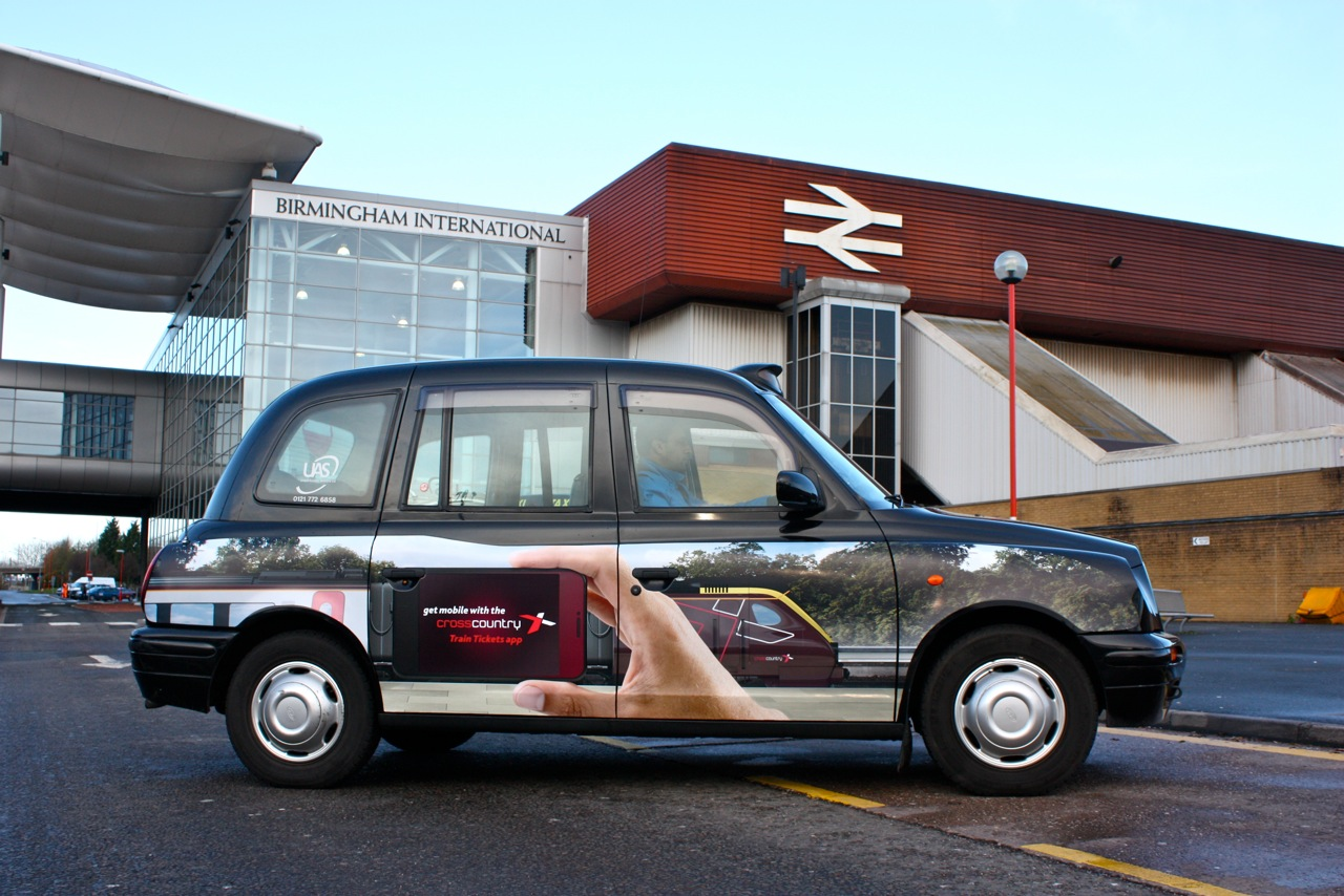 2011 Ubiquitous taxi advertising campaign for Cross Country Rail - Get mobile with the Cross Country