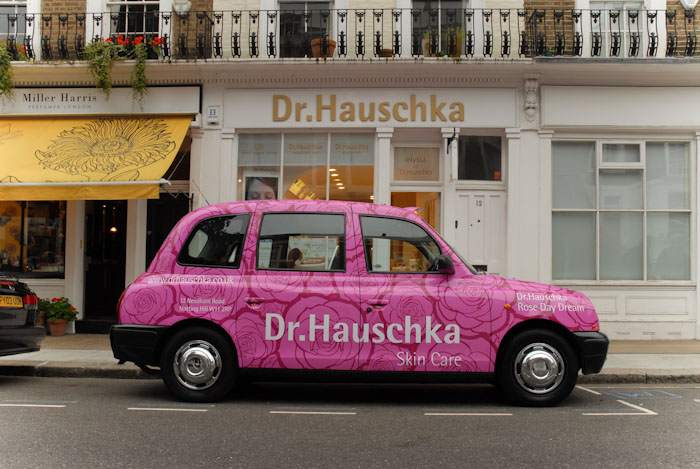 2010 Ubiquitous taxi advertising campaign for Dr Hauschka - Dr Hauschka Day Rose Cream