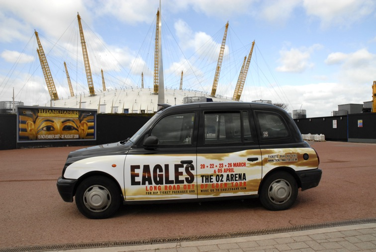 2008 Ubiquitous taxi advertising campaign for Eagles - Long Road out of Eden Tour