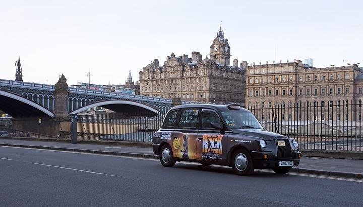 2009 Ubiquitous taxi advertising campaign for Edinburgh Playhouse - Rocks Scotland this Christmas