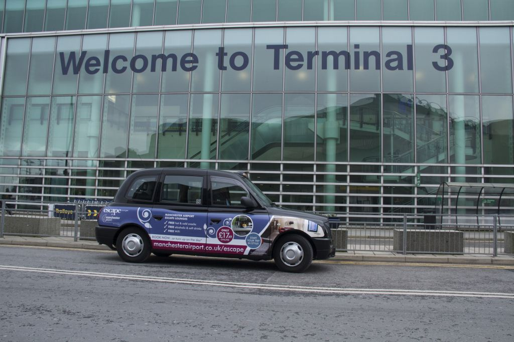 2013 Ubiquitous taxi advertising campaign for Manchester Airport - Escape lounges at Manchester Airport