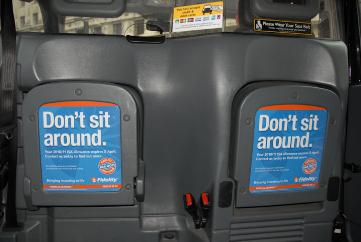 2011 Ubiquitous taxi advertising campaign for Fidelity - Apply Tax Breaks Now