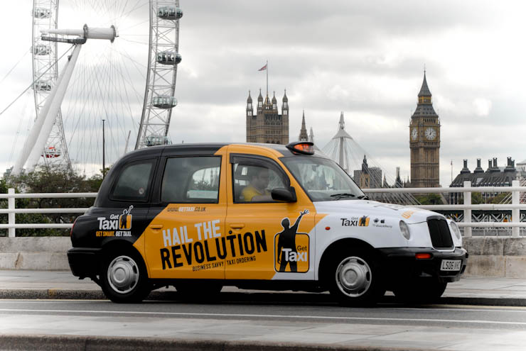 2011 Ubiquitous taxi advertising campaign for Get Taxi - Hail the Revolution
