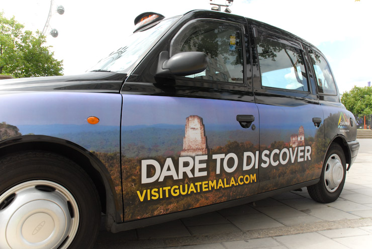 2011 Ubiquitous taxi advertising campaign for Guatemala - Dare to Discover