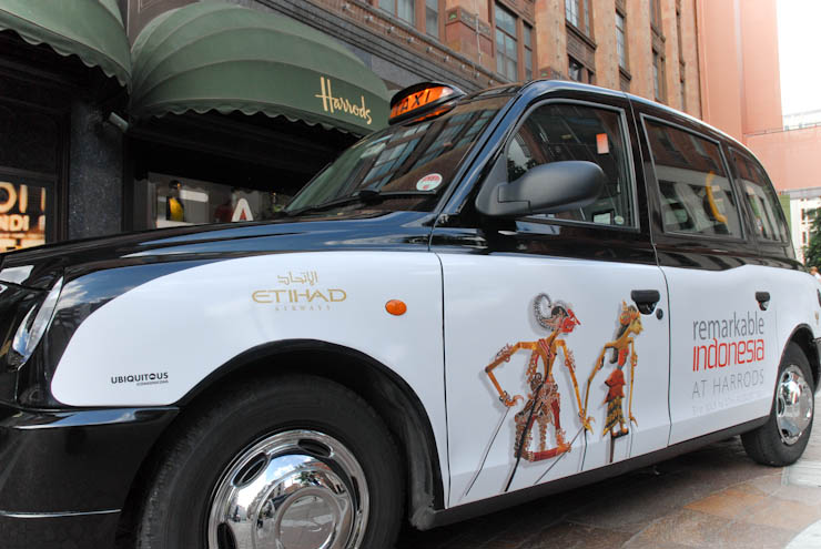2011 Ubiquitous taxi advertising campaign for Harrods - Remarkable Indonesia at Harrods