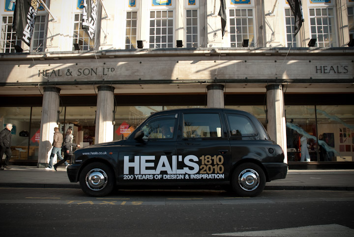 2010 Ubiquitous taxi advertising campaign for Heals - 200 Hundred Years of Design & Inspiration