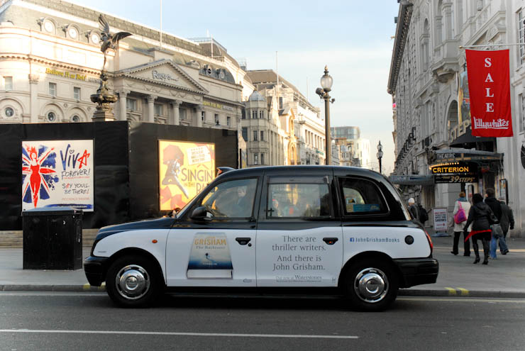 2012 Ubiquitous taxi advertising campaign for Hodder - John Grisham - The Racketeer