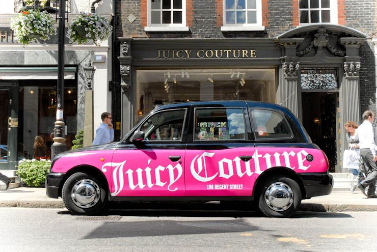 2012 Ubiquitous taxi advertising campaign for Juicy Couture - 198 Regent Street
