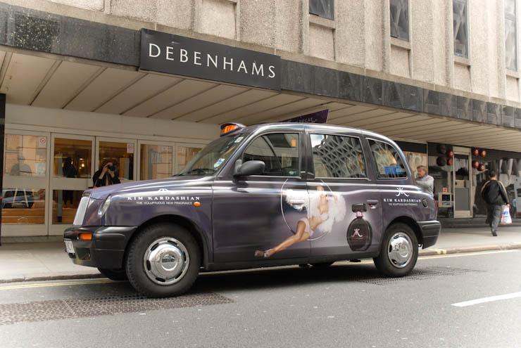 2011 Ubiquitous taxi advertising campaign for Kim Kardashian Fragrance - Kim Kardashian; The Voluptuous New Fragrance