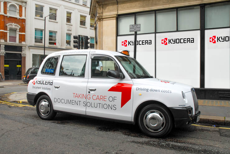 2013 Ubiquitous taxi advertising campaign for Kyocera - Take care of document solutions