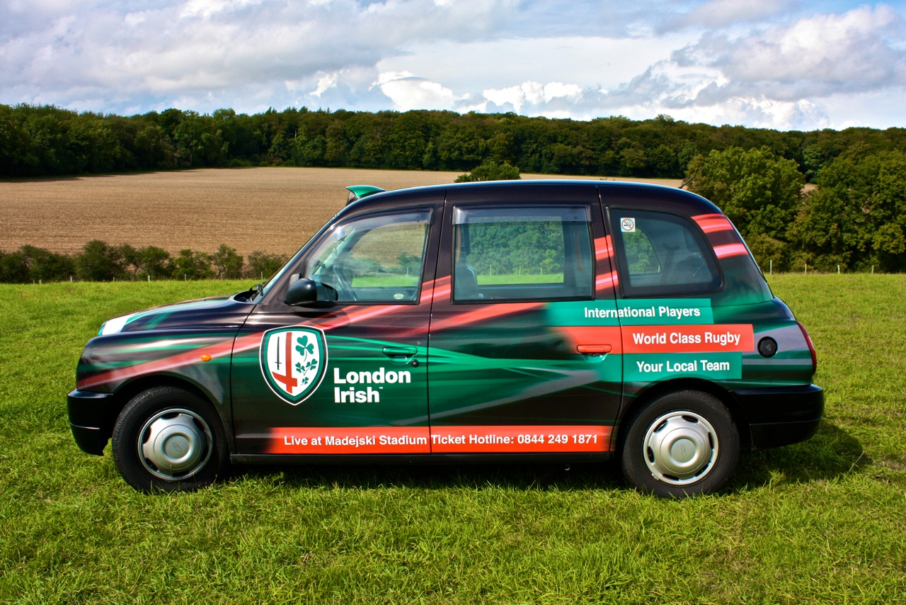 2010 Ubiquitous taxi advertising campaign for London Irish  - European Rugby In Reading