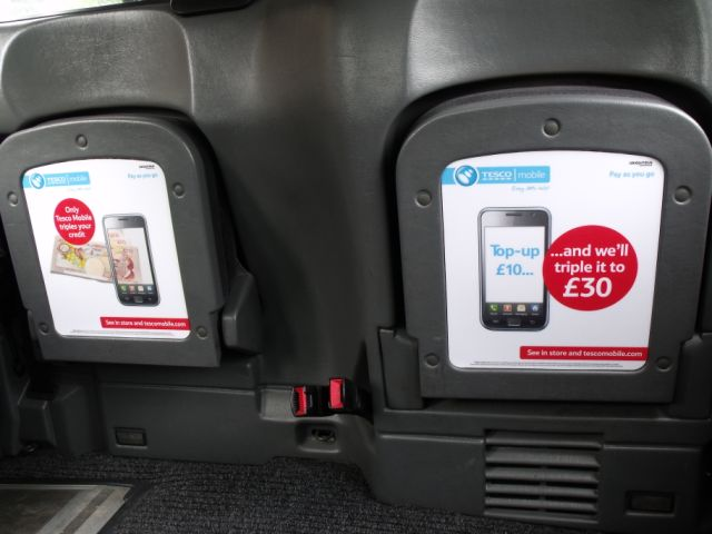 2011 Ubiquitous taxi advertising campaign for Tesco Mobile  - Triple Your Credit