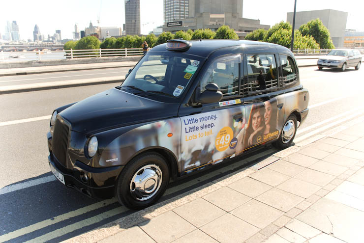 2012 Ubiquitous taxi advertising campaign for Lufthansa - Little Money. Little Sleep. Lots to Tell