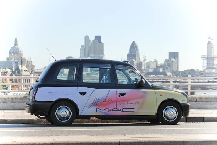 2012 Ubiquitous taxi advertising campaign for MAC - The official makeup sponser of London Fashion Week