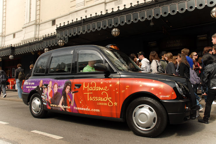 2010 Ubiquitous taxi advertising campaign for Madame Tussauds - Who Do You Want To Meet?
