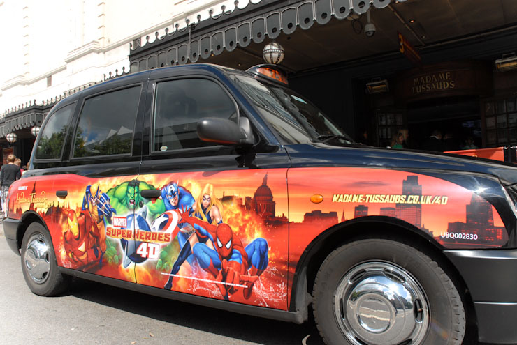 2010 Ubiquitous taxi advertising campaign for Madame Tussauds - Marvel Superheroes 4D