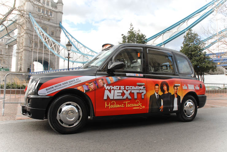 2012 Ubiquitous taxi advertising campaign for Madame Tussauds - Who's Coming Next?